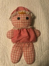 "Lolly Rag Doll 1975 Fisher Price #420 Pink Gingham Plush Rattle Toy 12"" - $16.82"