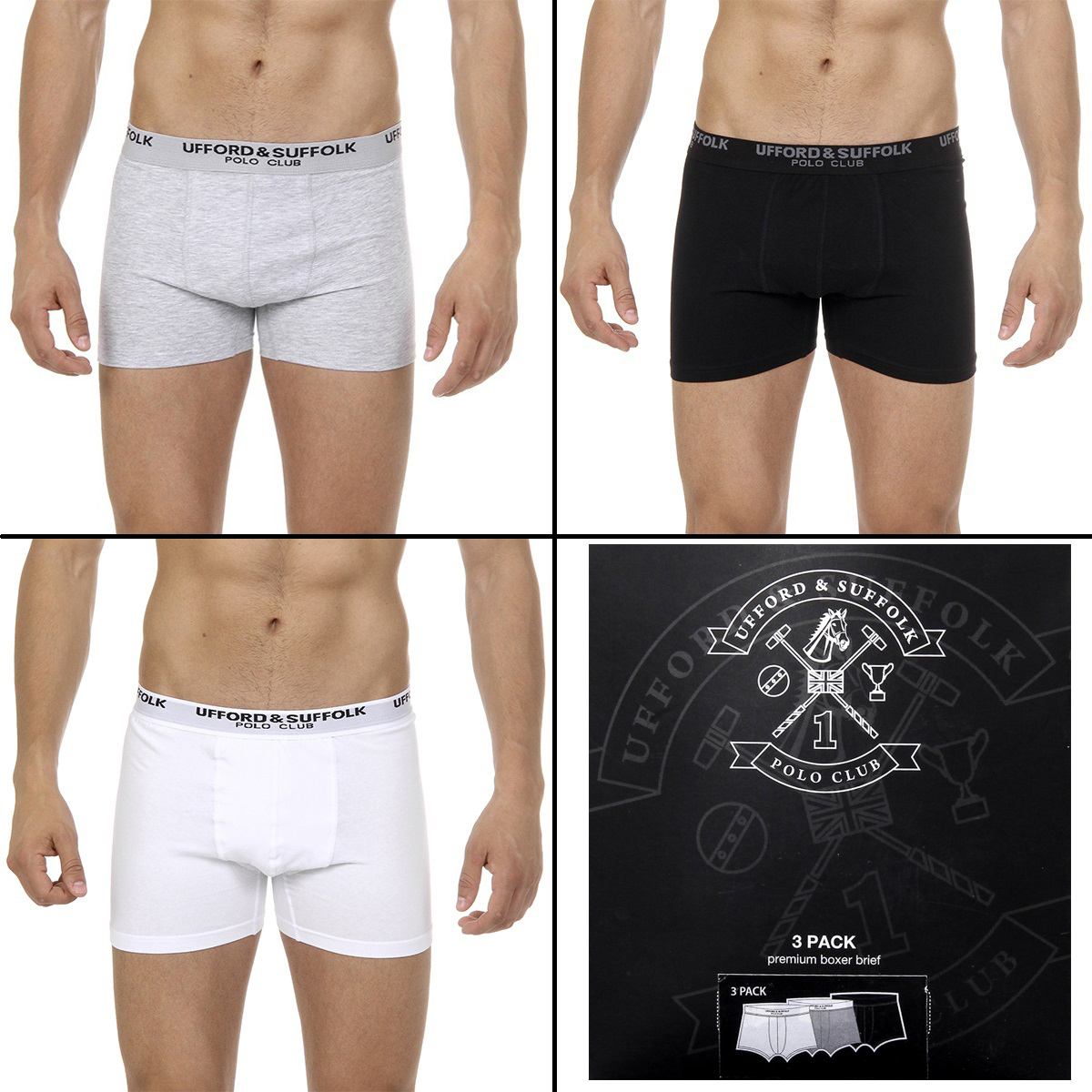 Primary image for Ufford & Suffolk Polo Club Mens Three pack boxer trunk US100