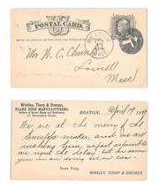 1889 UX5 Boston MA Fancy Cancel Negative K Winkley Thorp Dresser Blank Book Mfg - $12.95