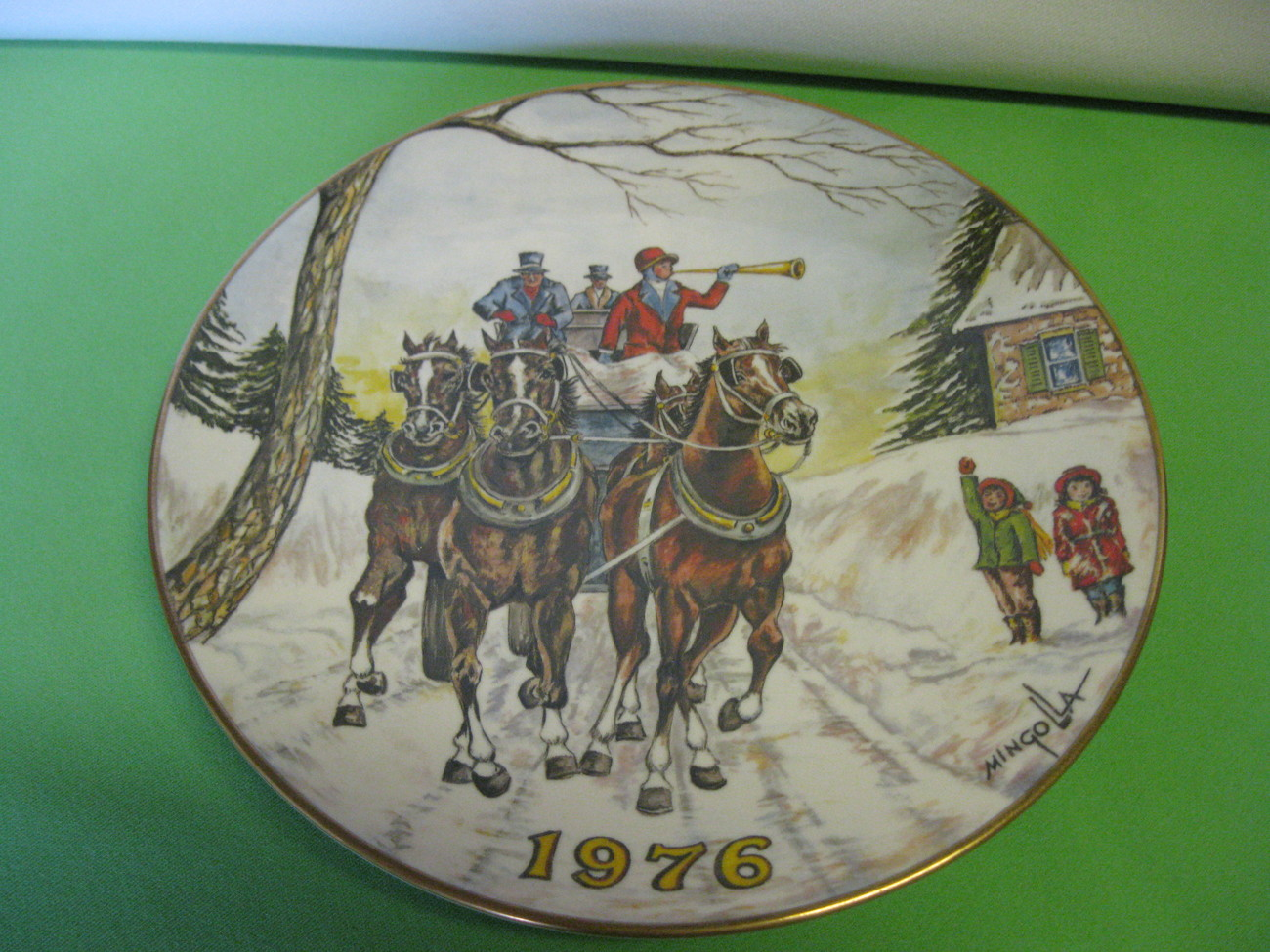 Gorham Collector Plate Christmas Dom Mingolla Horses 1976