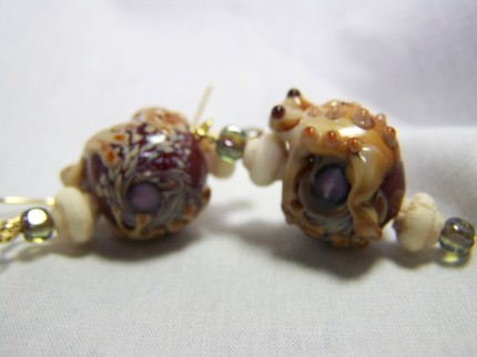 Frog glass bone 1 7/8inch lampwork earrings handmade