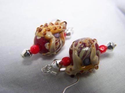 Frog glass lampwork dangle earrings silver handmade