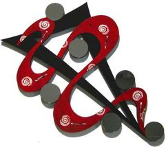 Red, Black ABSTRACT ART WALL SCULPTURE with MIRRORS - $149.99