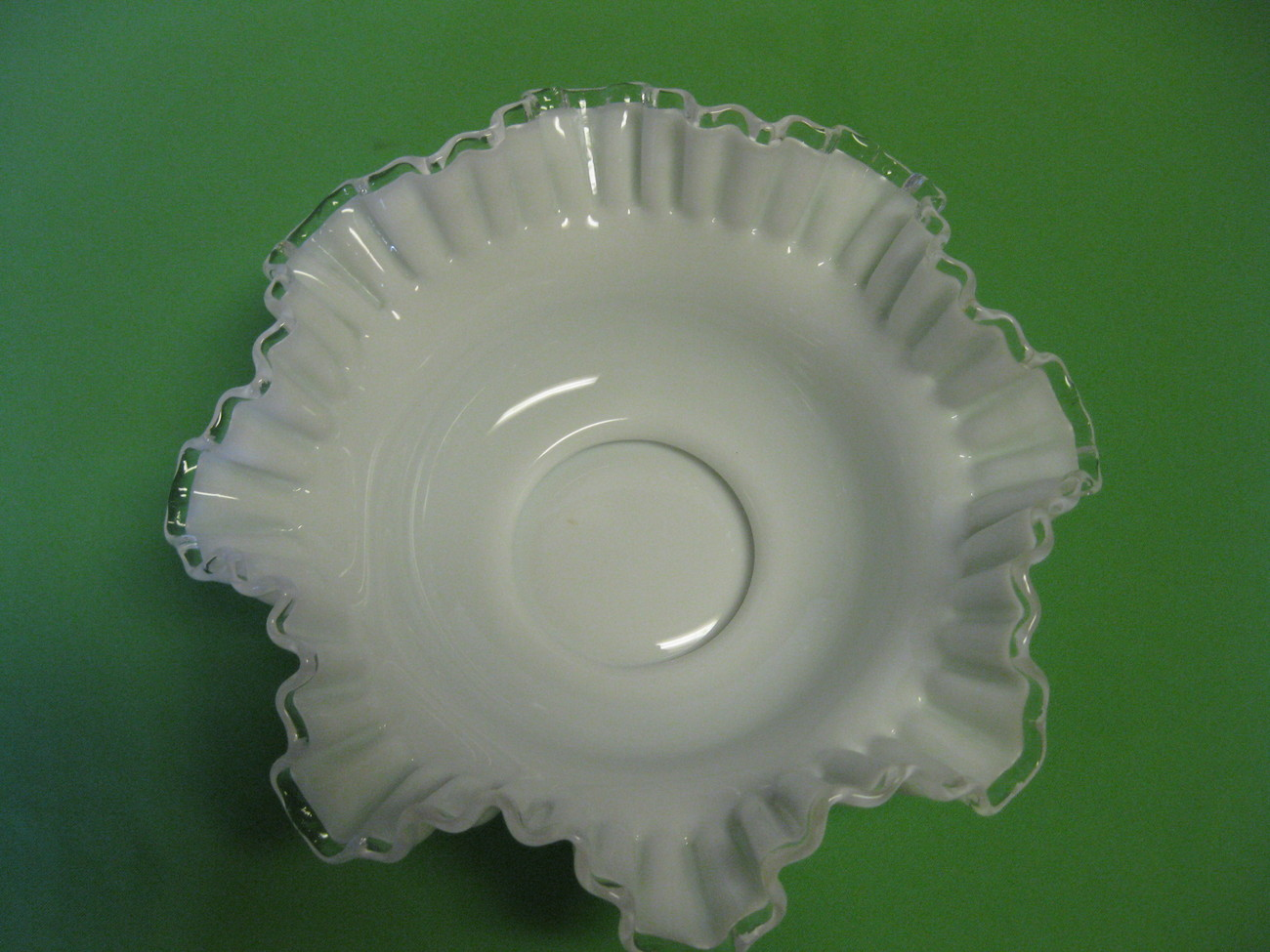 "Vintage Fenton Glass Silver Crest 10"" Footed Crimped Bowl Made in USA"