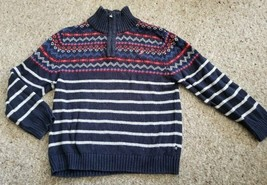 NAUTICA Navy Blue Striped and Patterned Half zip Sweater Boys Size 7 - $9.43
