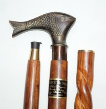 Antique Brass Fish Style Head Handle With Twist Wooden Walking Stick Can... - $33.04