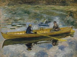 Claude Monet with Mme Henriot, 1880 - 24x32 inch Canvas Wall Art Home Decor - $51.99