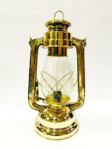 Electric-Vintage-Stable-Gold-Lantern-Lamp-with-Blown-Glass-Chimney - £52.57 GBP