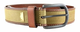NEW LEVI'S MEN'S PREMIUM CLASSIC CANVAS AND GENUINE LEATHER BELT OLIVE 11LV0352