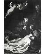CHRIST Descent from Cross by Ribera - 1888 Etching Print - $16.43