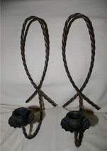Home Interior Antique Bronze Rope Sconce Pair Homco - $9.99