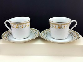 Fine China of Japan Garden Bouquet 4078 Cups and Saucers Set of 2 Floral Gold - $8.91