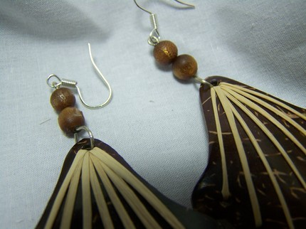 Coconut shell bamboo coral dangle earrings