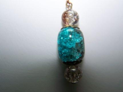 Crackle glass aqua coffee 2inch copper dangle earrings