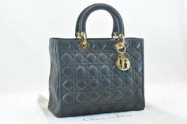Christian Dior Leather Lady Dior Black Hand Bag Auth sa318 - $931.00
