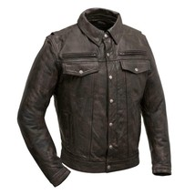 First Manufacturing Men's Leather Motorcycle Jacket, Villain - FIM280SDCZ - $287.09+