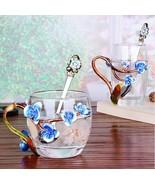 Mini Blue Flower Blossom Enamel Glass Heat Resistant Coffee Milk Tea Cup... - $73.93