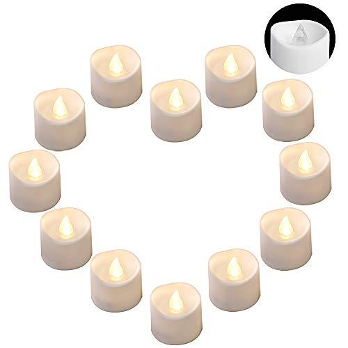 DRomance LED Flamelss Votive Tealight Candles Battery Operated, Set of 12 Plasti