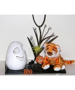 Halloween Ty Beanie Babies Tiger Metal Tree Ceramic Ghost Candle Holder 72 - $11.00
