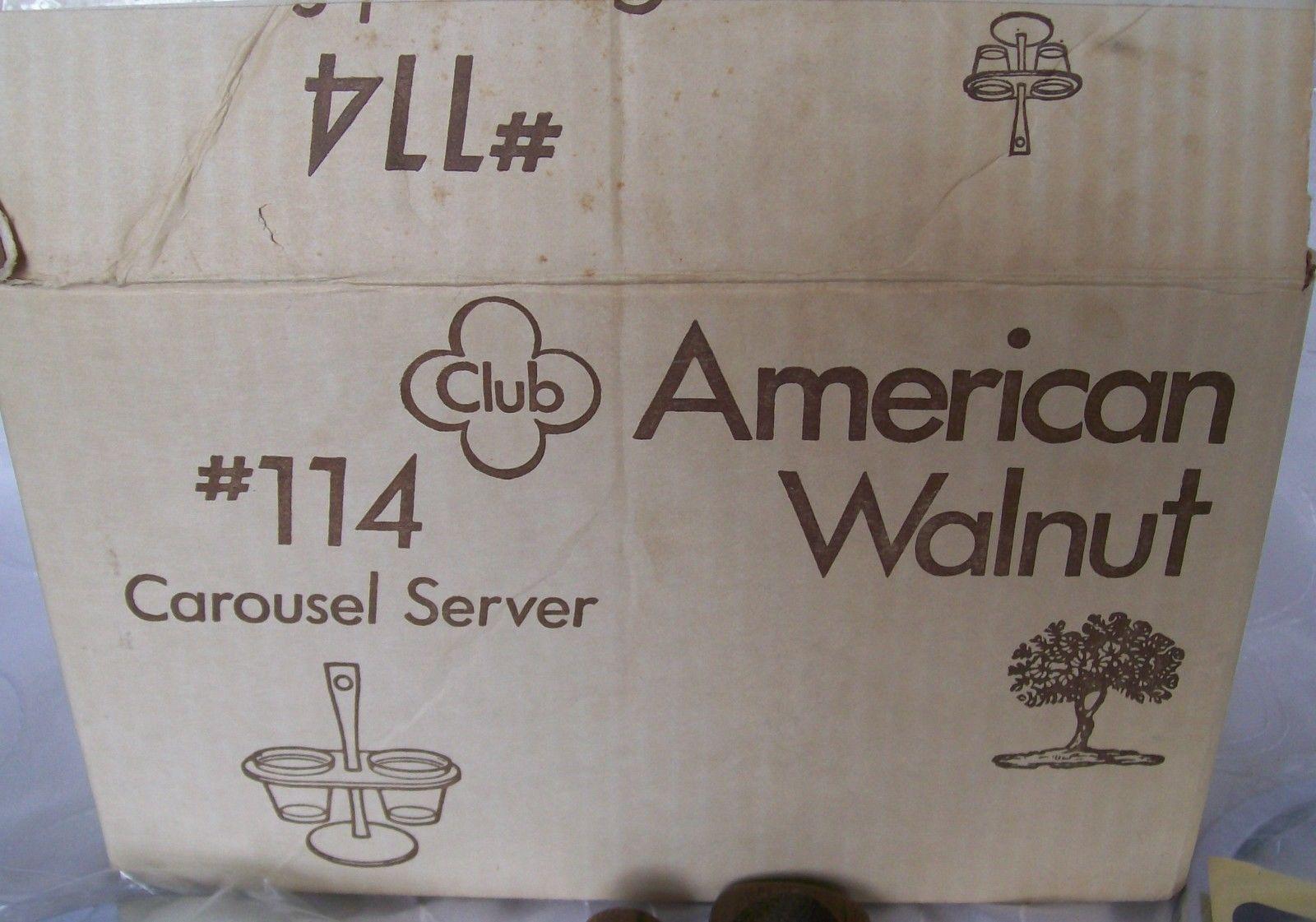 Vtg AMERICAN WALNUT- WOOD/GLASS/CHROME-Condiment Caddy/ Relish Tray/Carousel-NEW image 6