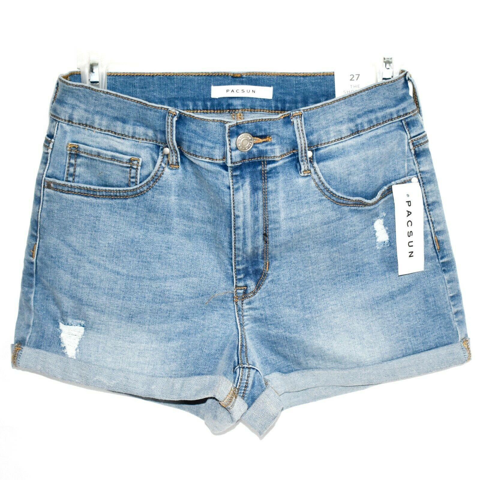 PacSun Rebecca Blue Denim Medium Indigo Shortie Shorts Size 27 New w Tags