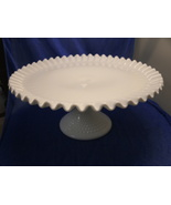 SIGNED FENTON WHITE MILK GLASS HOBNAIL PEDESTAL CAKE PLATE RUFFLED EDGE ... - $85.00