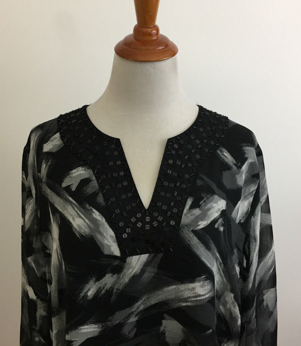 JM Collection Beaded V-Neck Gray Black White Brushstroke Blouse sz 14