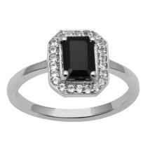 925 Silver Women's Wedding Black Spinel & White Topaz Gemstone Halo Stac... - $10.96