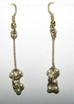 Vintage Faux Pearl Dangle Drop Earrings Pierced Goldtone Gold Tone 31466 - $29.69