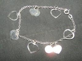 Vintage sterling silver hearts bracelet - $9.50