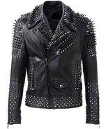 Men's Rock Punk Brando Spike Studded Motorcycle Black Cowhide Leather Ja... - $160.55+