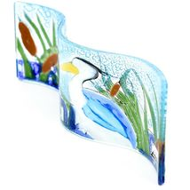 Fused Art Glass Blue Heron Cattails Lake Wavy Decor Piece Handmade in Ecuador image 4