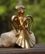 Exquisite Golden Praying Guardian Angel Pin, White Rhinestone Halo - $8.00
