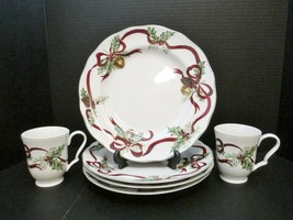 NOBLE EXCELLENCE 4 Dinner Plates & 2 - 10 oz Footed Cups Holly Bells Pat... - $79.90