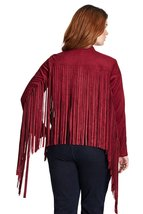 QASTAN Women's Black/Maroon Long Fringe Suede Cow Leather Jacket WWJ12 image 4