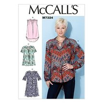 McCall's Patterns M7324 Misses' Half Placket Tops and Tunic, Size E5 (14... - $14.21