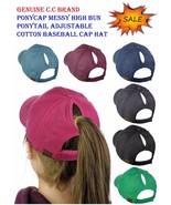 NEW! C.C Ponycap Messy High Bun Ponytail Adjustable Cotton Baseball CC C... - $14.89
