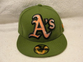 Oakland Athletics Green cap/hat New Era 7 logo is red with pop up embroi... - $9.45