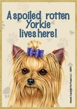 """A spoiled rotten Yorkie lives here! W/ BOW Cute Wood Fridge Magnet 2.5"""" ... - $4.99"""