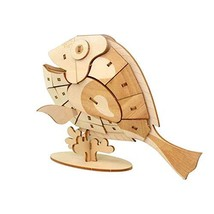 3D Wooden Puzzle Toys for Kids Adults Wooden Animal Fish Model Puzzle, Mechanica
