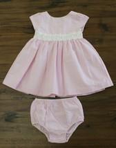 Ralph Lauren Girls Layette 18 M Seersucker Pink White Dress Lace belt de... - $29.67