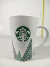 Starbucks Logo White Green Red Holiday Tree Triangle 16oz Tall Coffee Mu... - $20.16