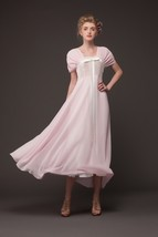 New Summer Short Sleeve Retro Wrapped Chest Chiffon Bow Maxi Pleated dress - $27.90