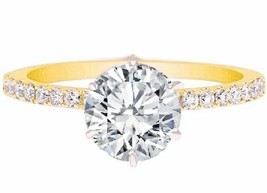 2.00CT Forever One Moissanite 6 Prong Yellow Gold Ring With Diamonds - $1,317.79+