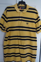 Men's Polo Shirt Size L Chaps by Ralph Lauren Yellow & Navy Blue Striped - $14.56