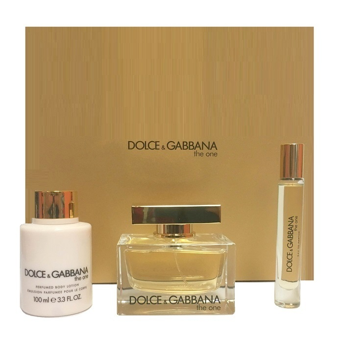 Dolce & Gabbana The One 2.5 Oz EDP Spray + 3.3 Oz Lotion + 0.25 Oz EDP Roll On