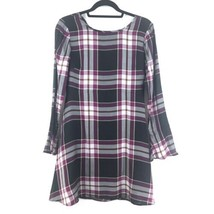 Loft Womens Size 00 Long Bell Sleeve Plaid Mini Dress Black Plum A-Line NEW - $30.75