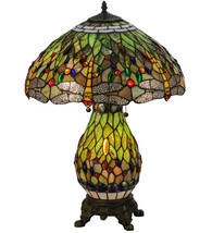 "25""H Tiffany Hanginghead Dragonfly Lighted Base Table Lamp - £336.97 GBP"