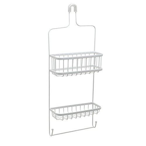 Bathroom Shower Caddy Bath Accessory Organizer 2 Shelf 2 Hook Hanging Rack New