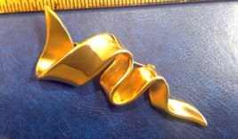 """Gold Tone brooch pin signed M. Jent Pin 3"""" long, about 1.25"""" at its widest - $2.80"""